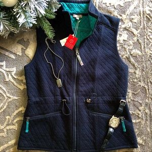 Talbots navy blue quilted vest